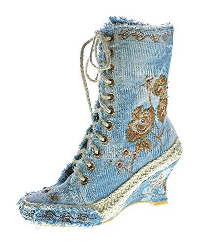 stahl-moden Damen Stiefeletten Keil Absatz Stiefel Wedges Stoff Schuhe Batik-Look Muster variieren Blau Gr. 37 (Keil Stiefel Und Schuhe)