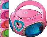 CD-Player mit LED-Beleuchtung | Tragbares Stereo Radio | Kinder Radio | Stereo Radio | Stereoanlage | USB | CD/MP3 Player | Radio | Kopfhöreranschluss | Aux in | LCD-Display | (Blau mit LED)