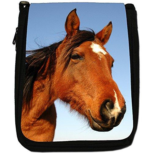 Elegante cavallo marrone medio nero borsa in tela, taglia M Close Up Smiling Brown Horse