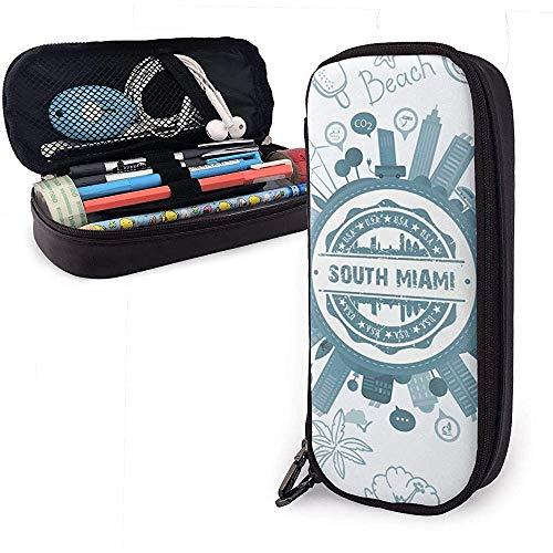 South Miami Florida Große Kapazität Leder Federmäppchen Bleistift Stift Schreibwaren Halter Box Organizer College Filzstift Student Schreibwaren Tasche