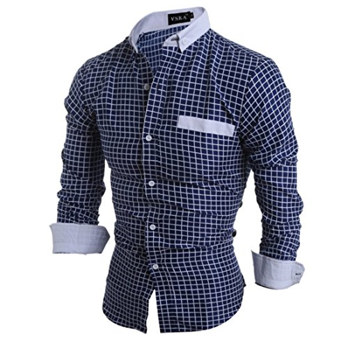 Men's Fashion Polka Floral Long Sleeve Slim Fit Shirts white