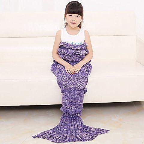 LIVEHITOP Children's Day Gift Girls Mermaid Tail Blanket Knitting Fishtail Summer Sleeping Bag for Kids, Birthday Gift for Girls Soft Children Blankets Air Conditioner, 140X70cm / 55.1