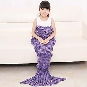 livehitop m dchen h keln mermaid meerjungfrau schwanz decke gestrickte schlafsack f r kinder. Black Bedroom Furniture Sets. Home Design Ideas