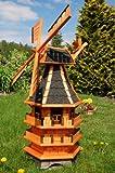 Deko-Shop-Hannusch Windmühle 3 stöckig kugelgelagert 1,40m Bitum dunkel mit Beleuchtung Solar, Solarbeleuchtung