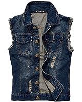 Zicac Mens Top Designed Casual Slim Fit Fancy Skinny Dress Jean Cowboy Vest Sleeveless Lapel Denim Waistcoat Working Gilets