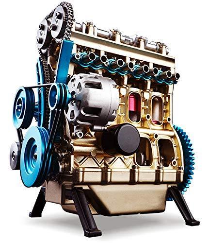 Seciie Vierzylinder Modell Motor, Motor Bausatz, Metall Engine mit Funktion, Elektrostart