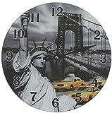 Glas Uhr Amerika Freiheitsstatue New York Durchmesser 28 cm, Wanduhr im Vintage Look mit Statue of Liberty Motiv, ausgefallenes Geschenk für USA und Retro Fans
