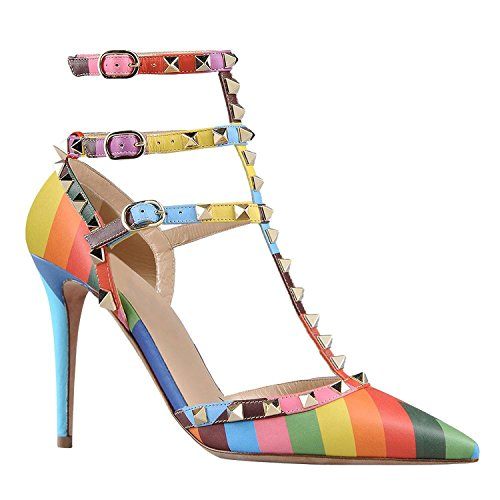 Arc-en-ciel womenâ s Schuhe verzierte Schnalle High Heel Sandale Multicolor