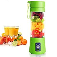 Cpixen Plastic Portable Juice Blender With Six Blades With Usb Charger Cable - 380Ml (Green)