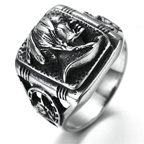 Epinki Edelstahl Herren Ringe, Indianer Form Gotik Edelstahlringe Bandringe Ring Schwarz Gr.60 (19.1)
