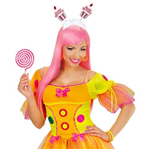 Amakando Happy Birthday Kopfschmuck Haarreif Geburtstag Kopfbügel Kindergeburtstag Kuchen Haarschmuck Diadem Jubiläum Cupcake Haarreifen (Cup Cake Kostüm)