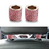 Colorful Universal Chrom Bling Kristall Kopfstütze 2 Stück Kopfstützen Halsbänder Auto Innendekoration Auto Zubehör für Auto LKW SUV Fahrzeug (Rosa)