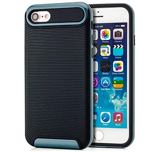Coque iPhone 7 Housse Etui TPU Silicone Case Cover [zanasta Ultra Hybrid] avec Bumper une protection de bord supplémentaire Noir-Argent Noir-Bleu Foncé