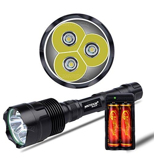 nktech Super Hell nk-3X T63800LM 3x T6LED Taschenlampe Bike Kopf Lampe Licht U2Tactical Taschenlampe für Outdoor Wandern Camping + 2x Trustfire 186503000mAh Akku + Dual Slot Ladegerät