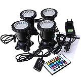 Aquarium Spot Light Unterwasserleuchte RGB LED Aquarien Licht Lampe für Fisch Tank innen Pool innen Brunnen Beleuchtung Deko 4 Stücke in 1 Set (Mit Fernbedienung)