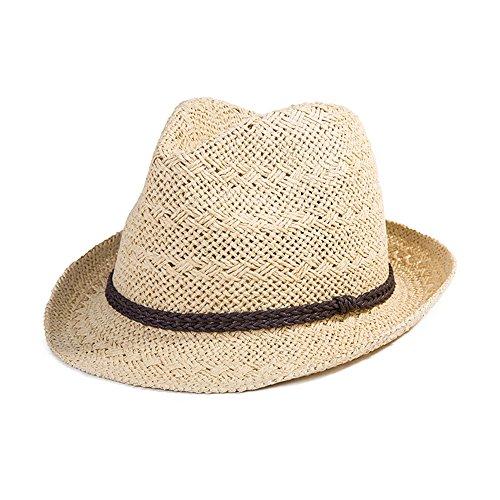 SIGGI Sommerhut beiger Panama Sonnenhut Webart Stroh Fedora Hut mit Sonnenschutz (Hut Panama-frauen)