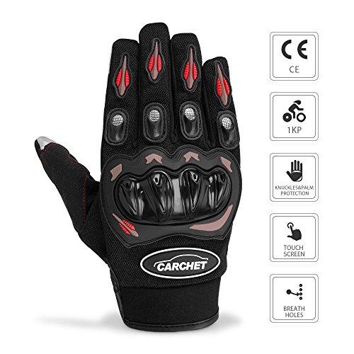 Guantes de Moto - CARCHET Guantes con Protección Dedo Completo Guantes de Pantalla Táctil Impermeables para Moto Ciclismo Táctico Deporte Aire Libre