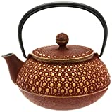 Iwachu Teekanne aus japanischem Eisen Tetsubin-Teekanne, Honeycomb, Gold und Burgunderrot