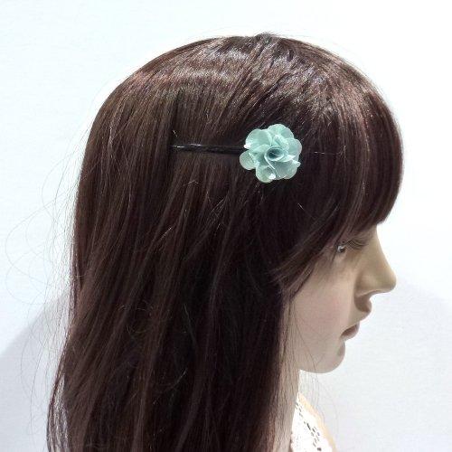 rougecaramel - Accessoires cheveux - Mini pince fleur pour mariage ou cérémonies - vert