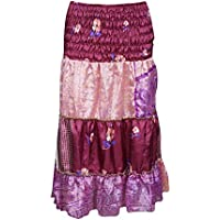 Mogul Interior Women's Strapless Tube Dress Skirt Silk Sari Casual Gypsy Chic S/M Maroon,Pink