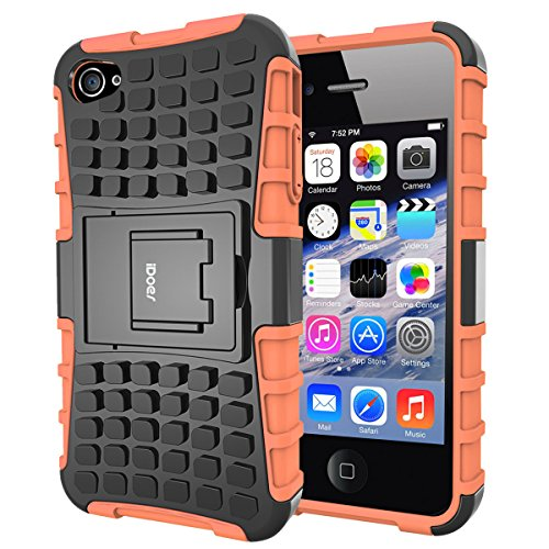 Custodia iPhone 4S,Cover iPhone 4,Shock-Absorption Bumper,Protettiva Stand Case,Copertura Protettiva in Plastica e TPU Custodia per iPhone 4 4S (verde) arancione