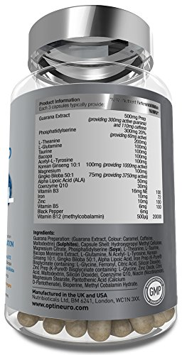 NEW Optineuro® Xcel for Increased Focus, Concentration + Memory   #1 Top Rated Nootropics   STRONGEST Formula on the Market 6073mg ACTIVE   Recommended for Advanced Supplement Users   90 Capsules