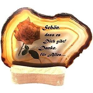 Achatscheibe auf Teelichthalter; Bedruckt mit Text und Motiv; Schön, dass es Dich gibt! Danke für Alles