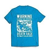 Männer T-Shirt Todesrennen - ultimative Killerfahrt, Motorradrennen, Klassiker, Vintage, Retro-Schädel-Biker, Motorrad (X-Large Blau Mehrfarben)