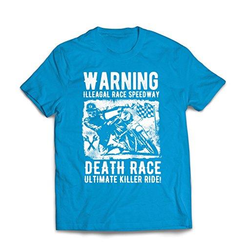 Männer T-Shirt Todesrennen - ultimative Killerfahrt, Motorradrennen, Klassiker, Vintage, Retro-Schädel-Biker, Motorrad (XX-Large Blau Mehrfarben)