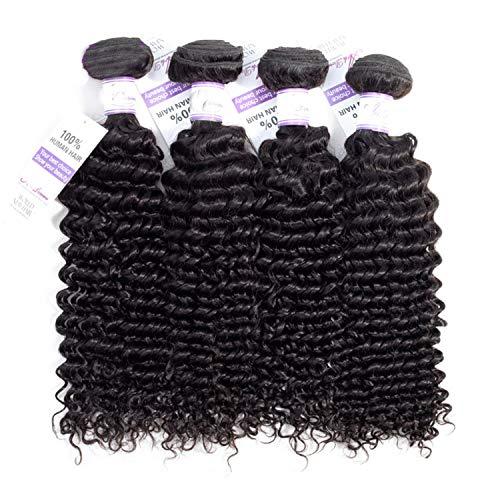 Natürliche Haarteile Brasilianische Tiefe Welle Haarwebart Bundles 100% Echthaar Weben Natürliche Farbe Nicht Remy Haar kann 4 Stück kaufen Perücken (Stretched Length : 14 16 18 18 inches) (Kaufen Pferdeschwanz Perücken)
