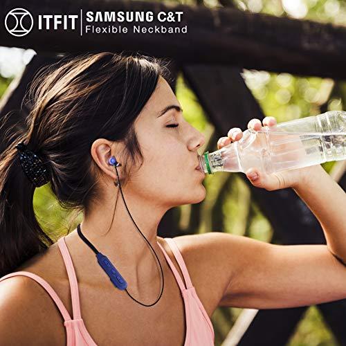 Samsung C&T ITFIT Bluetooth Wireless Earphone with Flexible Neck Band and handsfree Mic (GP-OAU019SABBI, Blue-Black) Image 4