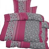 KH-Haushaltshandel 4-TLG. Biber Winter Bettwäsche 2X (135 x 200 + 80x80 cm), pinkbeere grau Blüten, Baumwoll Mischgewebe (40108)