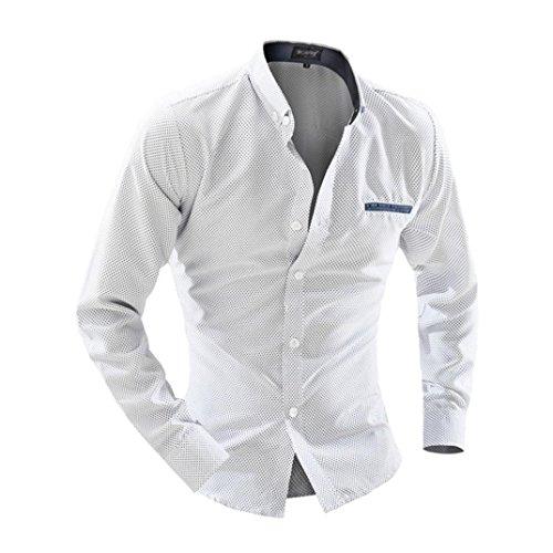 Herren Hemd T-shirt,Dasongff Herren Business Hemd Casual Langarm-Shirt Druck Punkte Langarmshirt Freizeithemd Hemden männer Shirt Tops (XL, Weiß) - Männer Punkten