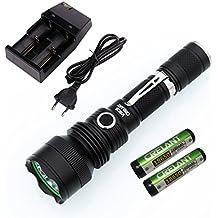 CRELANT V6CS EDC LED Taschenlampe Tactical Taschenlampe CREE XP-L 1226 Lumen Ultra Hell IPX-8 Wasserdichte Kompakte Größe (V6CS Kaltweiß+CD80+2400*2)