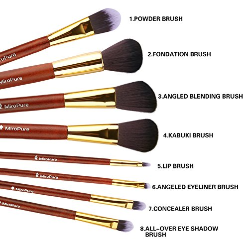 Professional Makeup Brush Set Kabuki Makeup Foundation Eyeliner Blush Contour Lip Concealer Cosmetic Brushes for Beauty Blending Face Powder Eyeshadow Eyebrow 8 PCs (8 pcs)