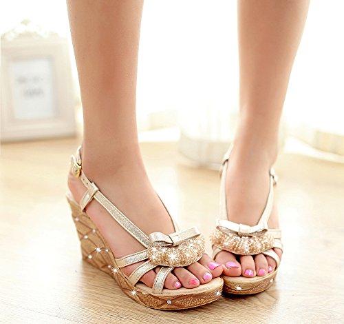 Wealsex Damen sandalen keilabsatz sommerschuhe Silber