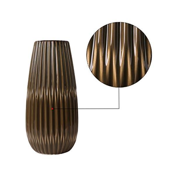 TERESA'S COLLECTIONS Florero Jarrón de Cerámica Decorativo Moderno marrón 29 cm para Sala de Estar, Cocina, Mesa, Hogar…