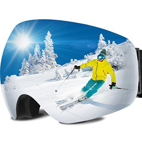 Skibrille, OMorc Doppel-Objektiv + 100% UV-Schutz Snowmobile Snowboard Skate, mit und Weitwinkel Anti-Nebel/ANTIFOG für Jungs Jugendliche Junior Kinder Damen Frauen Männer Jungen Mädchen Skibrillen-Grau