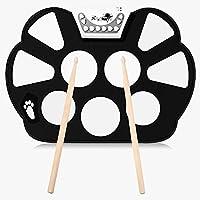 Roll up Elettronico Drum portatile a materiale silicone pieghevole con due bastoni, una porta USB- bianco e nero