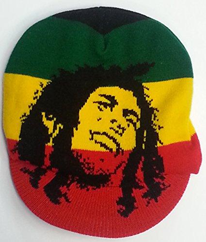 One Love Style de Bob Marley Rasta Lion de Judha Bonnet tricoté avec visière - -