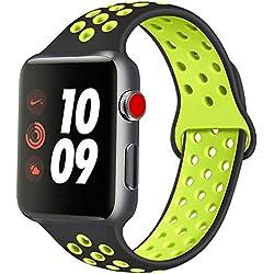 ATUP Compatible avec pour Apple Watch Bracelet 38mm 40mm 42mm 44mm, Bracelet de Remplacement en Silicone Souple Compatible avec pour iWatch Series 1/2/3/4 (04 Black&Green, 42mm/44mm-M/L)