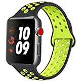 ATUP Compatible con para Apple Watch Correa de 38mm 40mm 42mm 44mm, Correa de Reloj de Repuesto de Silicona Suave Compatible con para iWatch Serie 1/2/3/4 (04 Black&Green, 38mm/40mm-S/M)