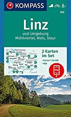 Linz und Umgebung, Mühlviertel, Wels, Steyr: 2 Wanderkarten 1:50000 im Set inklusive Karte zur offline Verwendung in der KOMPASS-App. Fahrradfahren. Langlaufen. (KOMPASS-Wanderkarten, Band 202)