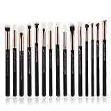 Jessup T157 - Lot de 15pinceaux de maquillage professionnels, manches en bois, poils naturels/synthétiques, couleur Perle Noire/Or Rose