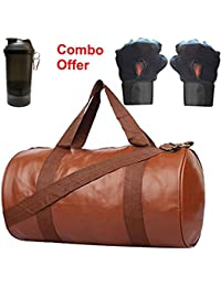 SKYSONS Gym Bag Combo Set Enclosed With Soft Leather Gym Bag For Men And Women For Fitness - Bag Size 49cm X 24cm... - B07DXQDQZ4