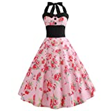 VEMOW Elegante Damen Damen Vintage Bodycon Sleeveless Halter beiläufige Tanzabend Party Prom Brautjungfern Swing Dress Faltenrock Cocktailkleid(Rosa 2, EU-42/CN-XL)