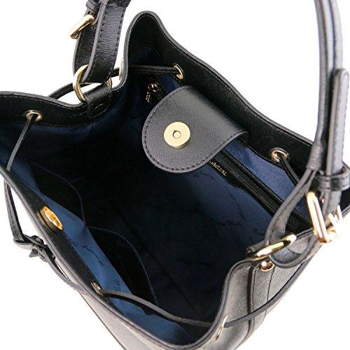 Tuscany Leather Minerva Borsa secchiello da donna in pelle Saffiano Cognac Nero