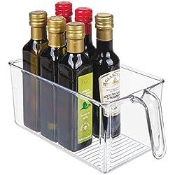 mDesign Boite de Rangement - Boite pour frigo idéale pour la Cuisine, Le Placard ou Le frigo - bac Alimentaire en Plastique avec Large Ouverture et poignée intégrée - Transparent