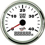 Bootshop24 Drehzahlmesser 4000 U/Min Weiss/Chrom 4KRPM