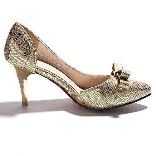 AllhqFashion Femme Couleur Unie Cuir de Bœuf Pointu Tire Chaussures Légeres Doré